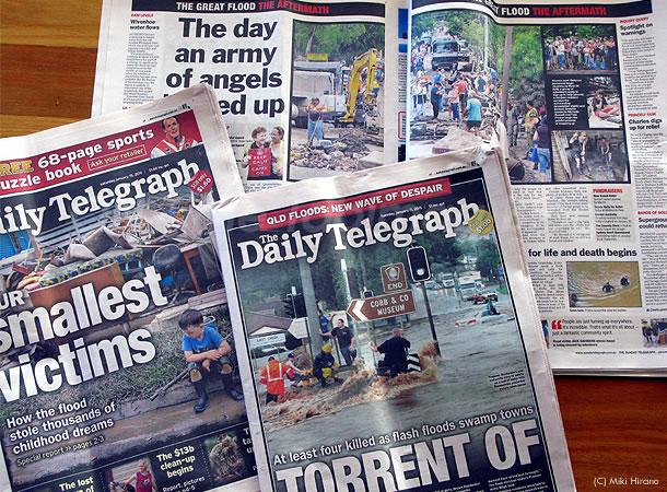 オーストラリア各地で大洪水発生!地元紙は毎日一面で報道