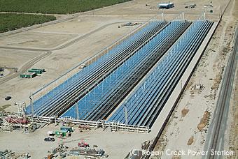 コーガンクリークに建設中のソーラーフィールド