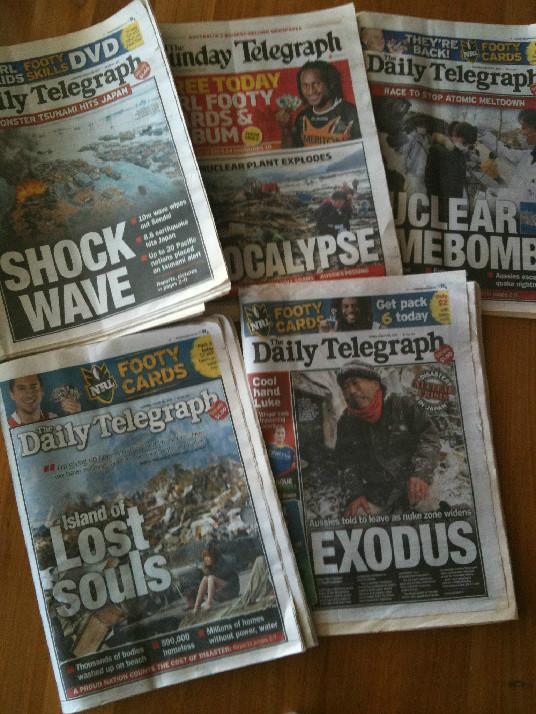 311の東日本大震災を報じるオーストラリアの新聞