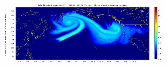 福島第一原発から放出された放射能拡散の様子 -オーストリア気象地球力学中央研究所(ZAMG)のデータ