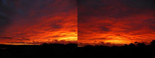 2013年10月01日に、シドニー郊外で見られた異常に赤い夕焼け