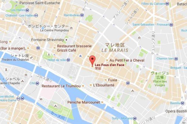 レストランがあった場所を示すGoogle Map